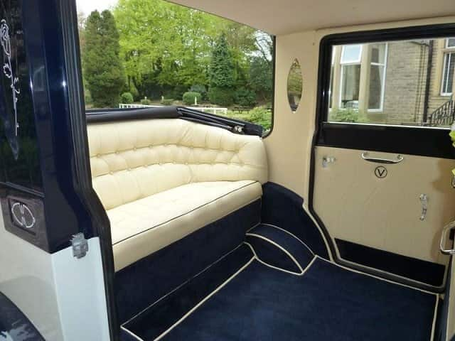 Interior view of our Viscount showing the rear seat and ample leg room for the bride and groom